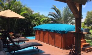 Swim Spa Cover in Sunbrella for a swim spa